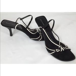 Strappy Slingback Black Leather Heels Shoes 10.5M